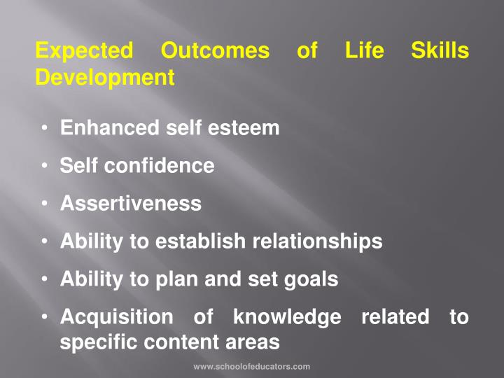 Expected Outcomes of Life Skills Development
