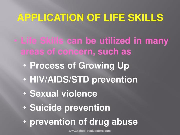 APPLICATION OF LIFE SKILLS