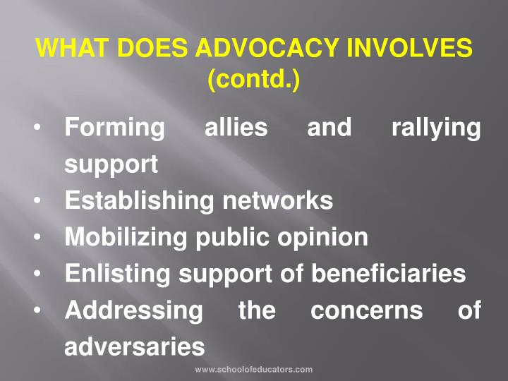 WHAT DOES ADVOCACY INVOLVES