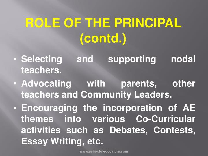 ROLE OF THE PRINCIPAL