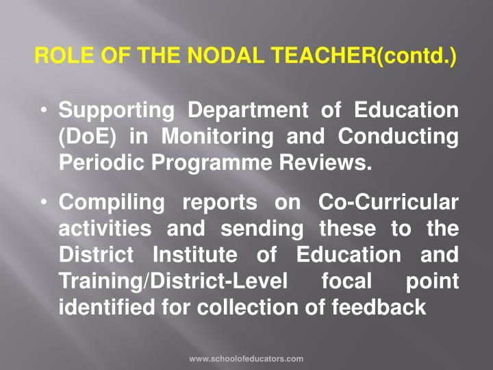ROLE OF THE NODAL TEACHER