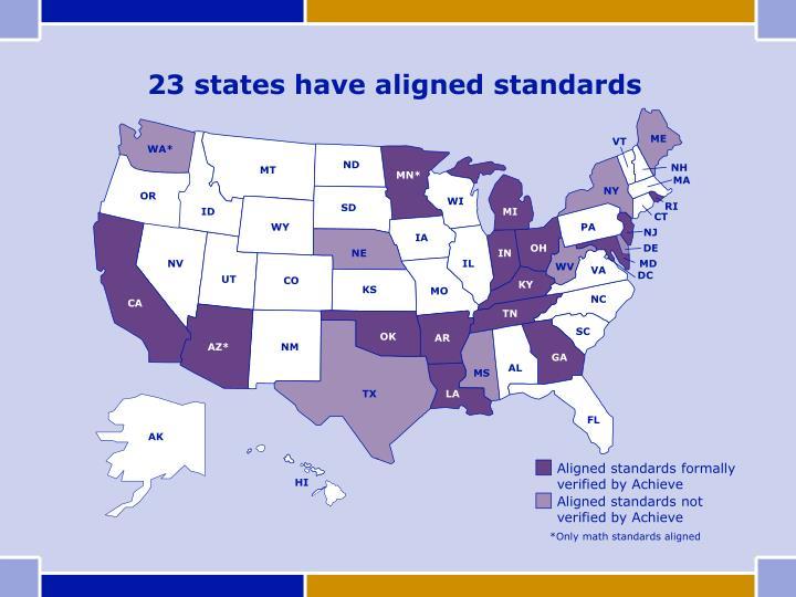23 states have aligned standards