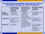 broadening accountability indicators to value incentivize college career readiness
