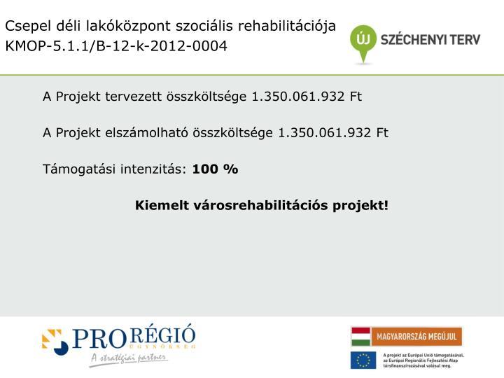A Projekt tervezett összköltsége 1.350.061.932 Ft