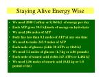 staying alive energy wise