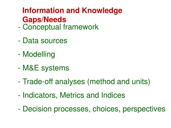 Information and Knowledge Gaps/Needs