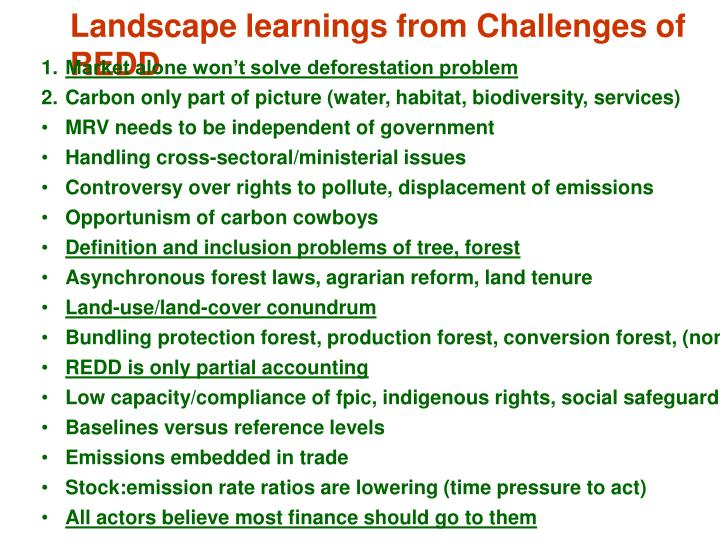 Landscape learnings from Challenges of REDD