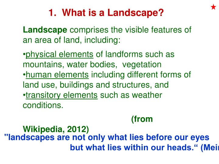 1.  What is a Landscape?