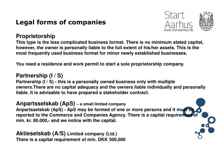 Legal forms of companies