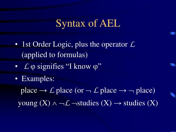 Syntax of ael