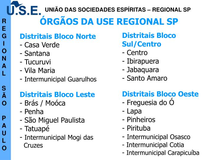 ÓRGÃOS DA USE REGIONAL SP