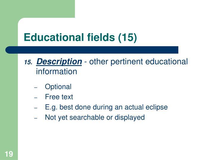 Educational fields (15)