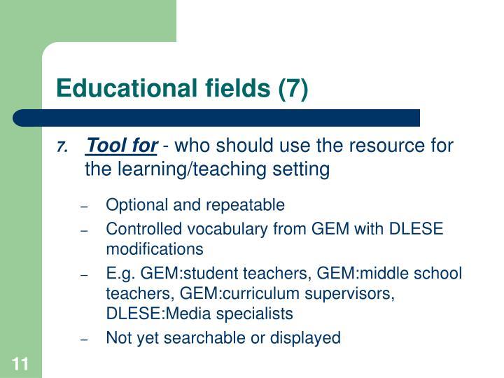 Educational fields (7)