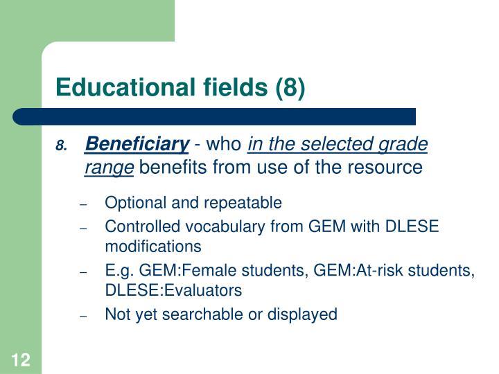 Educational fields (8)