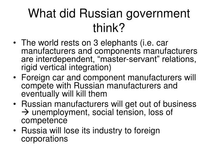 What did Russian government think?