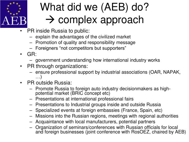 What did we (AEB) do?