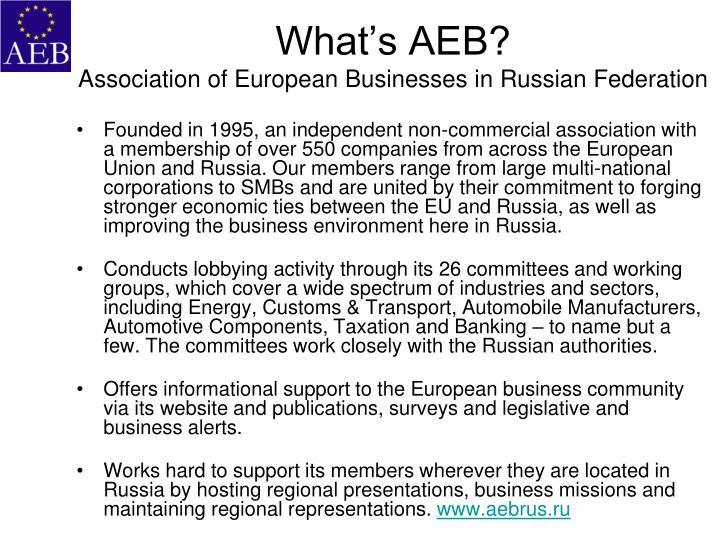 What s aeb association of european businesses in russian federation