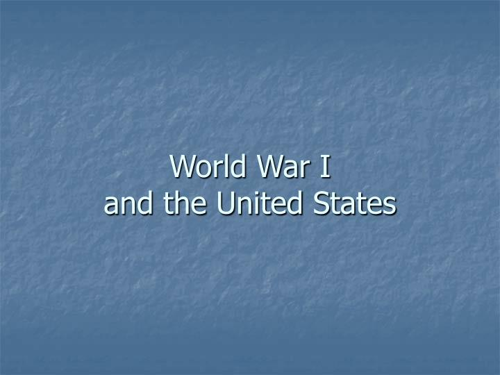 World war i and the united states
