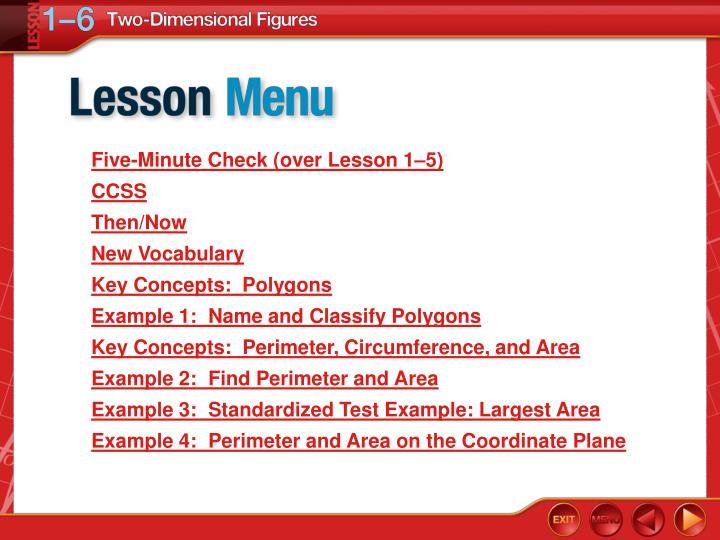 Five-Minute Check (over Lesson 1–5)