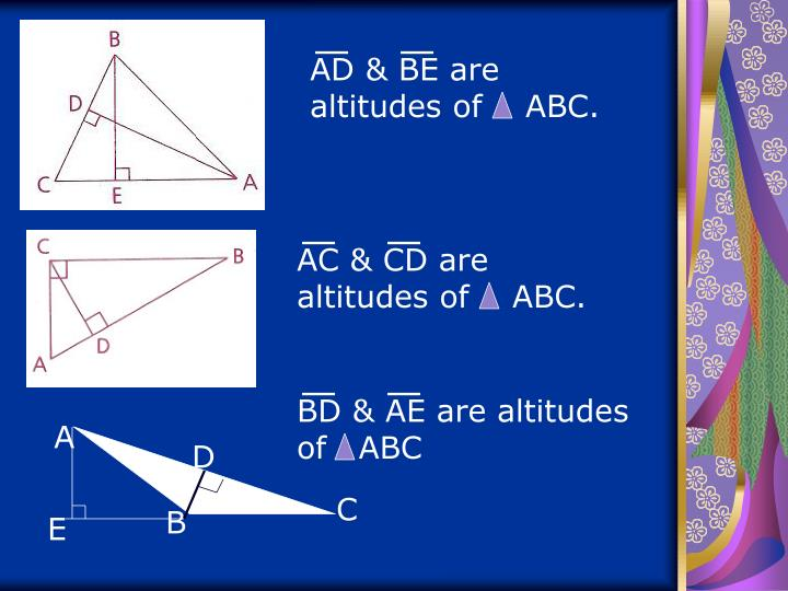 AD & BE are altitudes of    ABC.