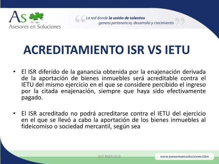 ACREDITAMIENTO ISR VS IETU