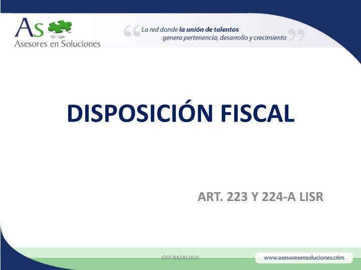 DISPOSICIÓN FISCAL