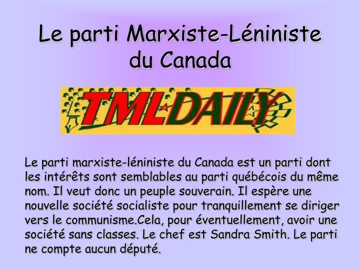 Le parti Marxiste-Léniniste du Canada
