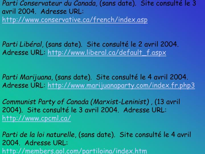 Parti Conservateur du Canada,
