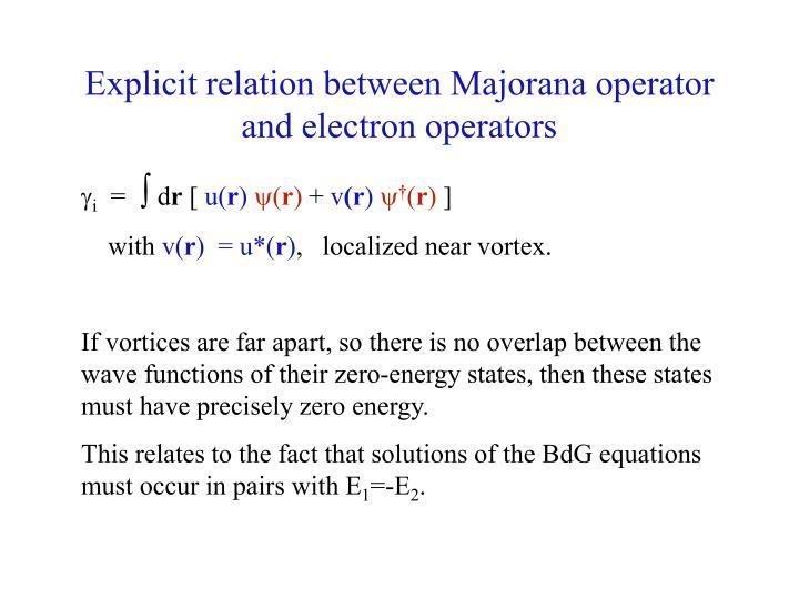 Explicit relation between Majorana operator and electron operators