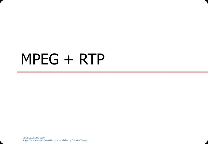 MPEG + RTP