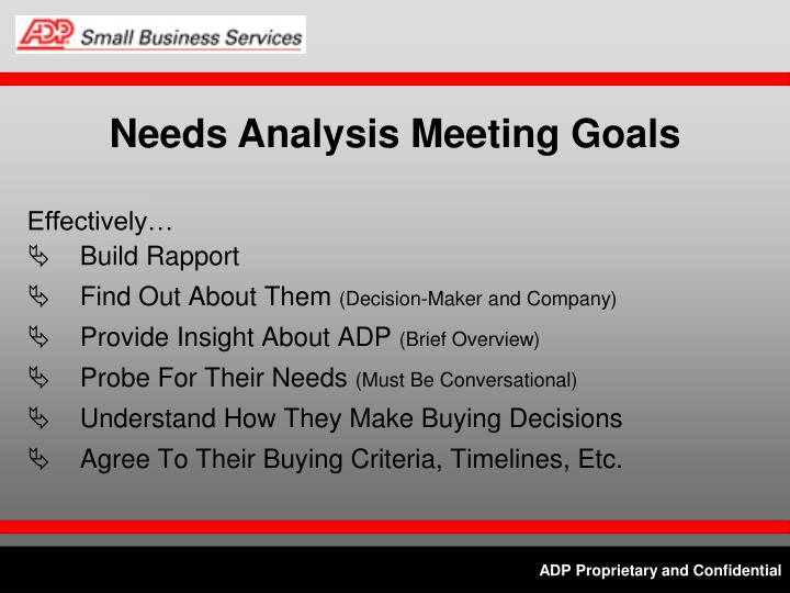 Needs Analysis Meeting Goals
