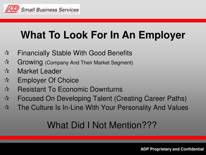 What To Look For In An Employer