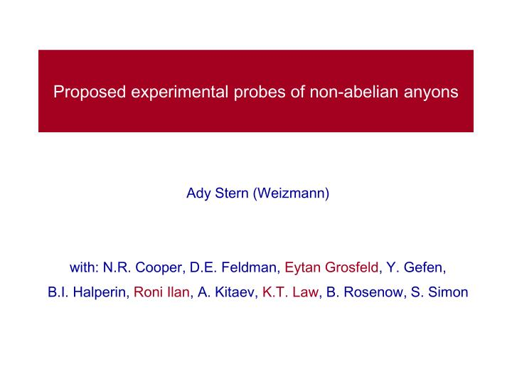 Proposed experimental probes of non abelian anyons