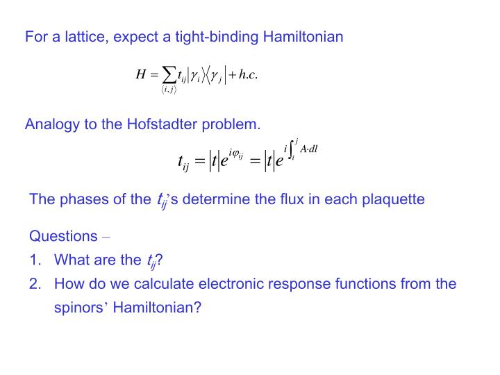 For a lattice, expect a tight-binding Hamiltonian