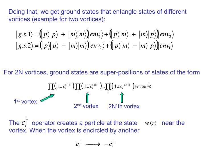 Doing that, we get ground states that entangle states of different