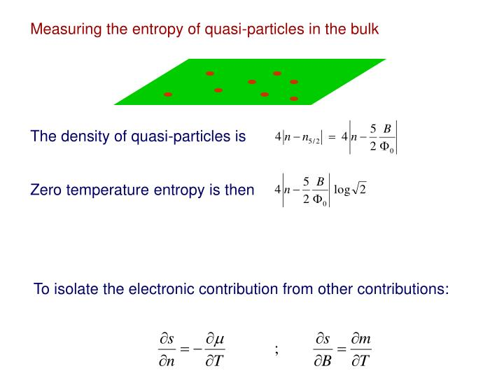 Measuring the entropy of quasi-particles in the bulk