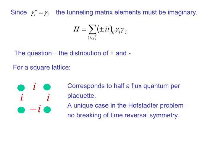 Since                the tunneling matrix elements must be imaginary.