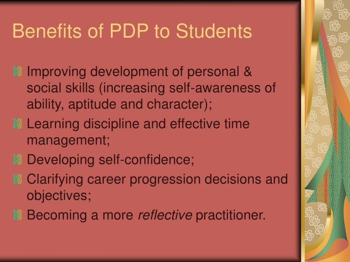 Benefits of PDP to Students