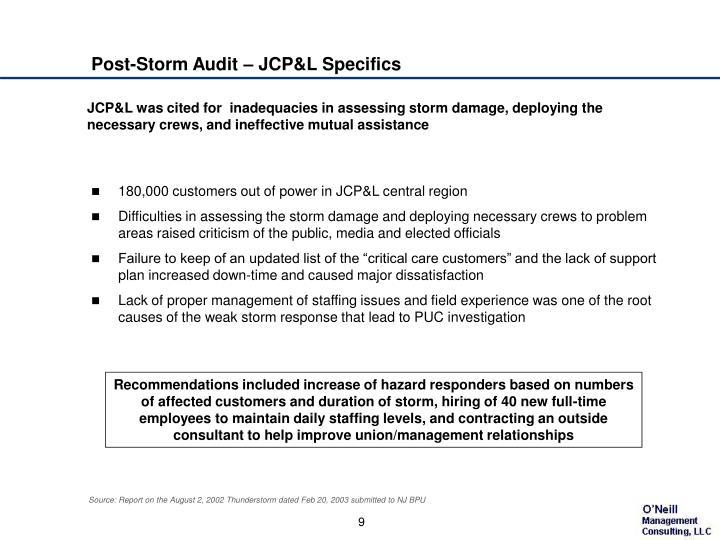 Post-Storm Audit – JCP&L Specifics