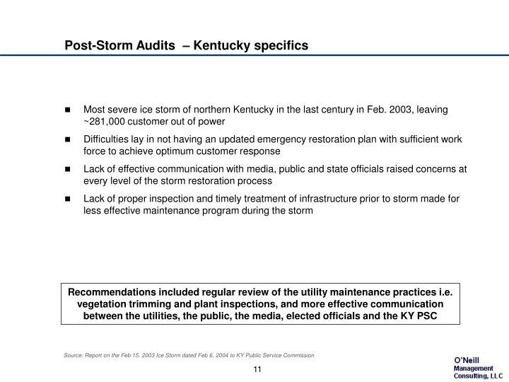 Post-Storm Audits  – Kentucky specifics