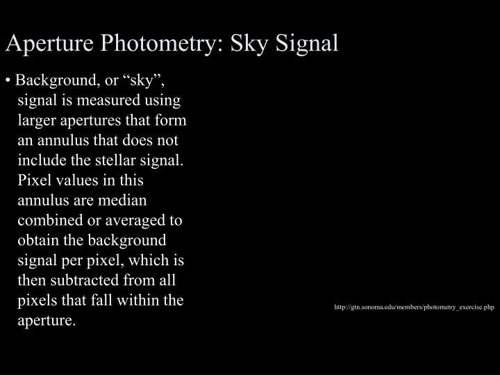 Aperture Photometry: Sky Signal