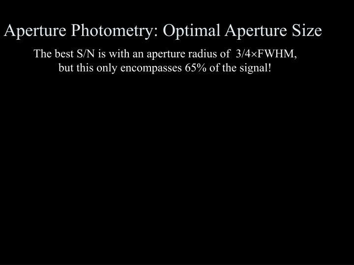 Aperture Photometry: Optimal Aperture Size