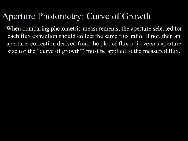 Aperture Photometry: Curve of Growth