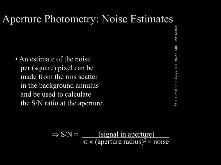 Aperture Photometry: Noise Estimates