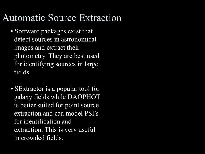 Automatic Source Extraction