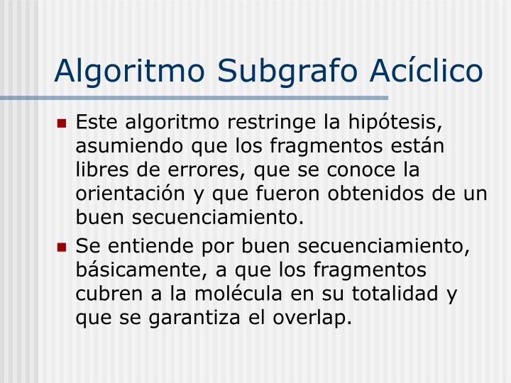 Algoritmo Subgrafo Acíclico