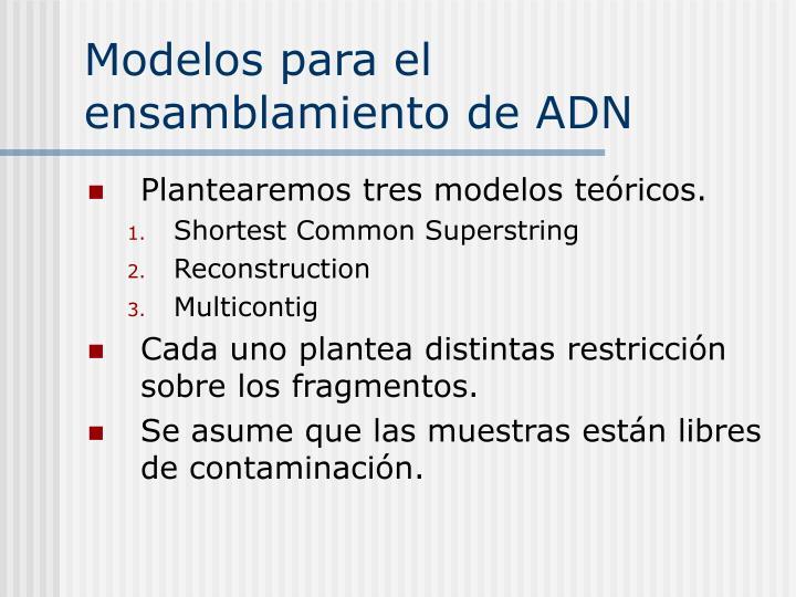 Modelos para el ensamblamiento de ADN