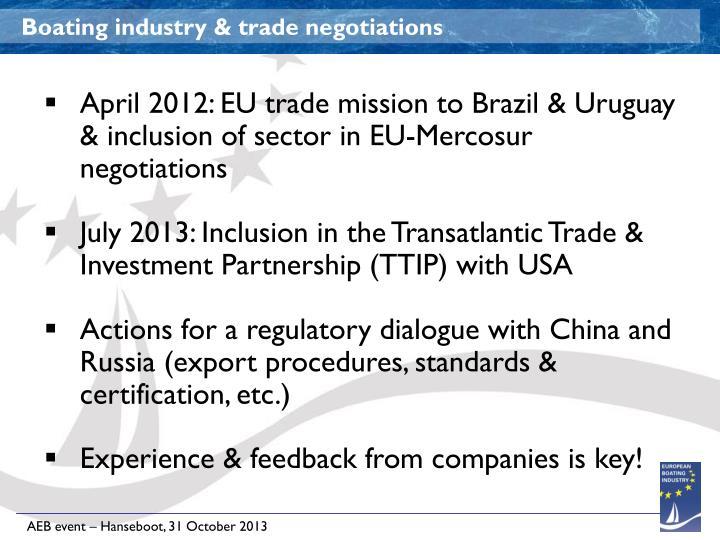 Boating industry & trade negotiations