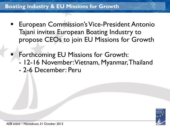 Boating industry & EU Missions for Growth
