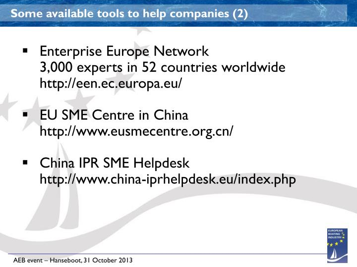 Some available tools to help companies (2)